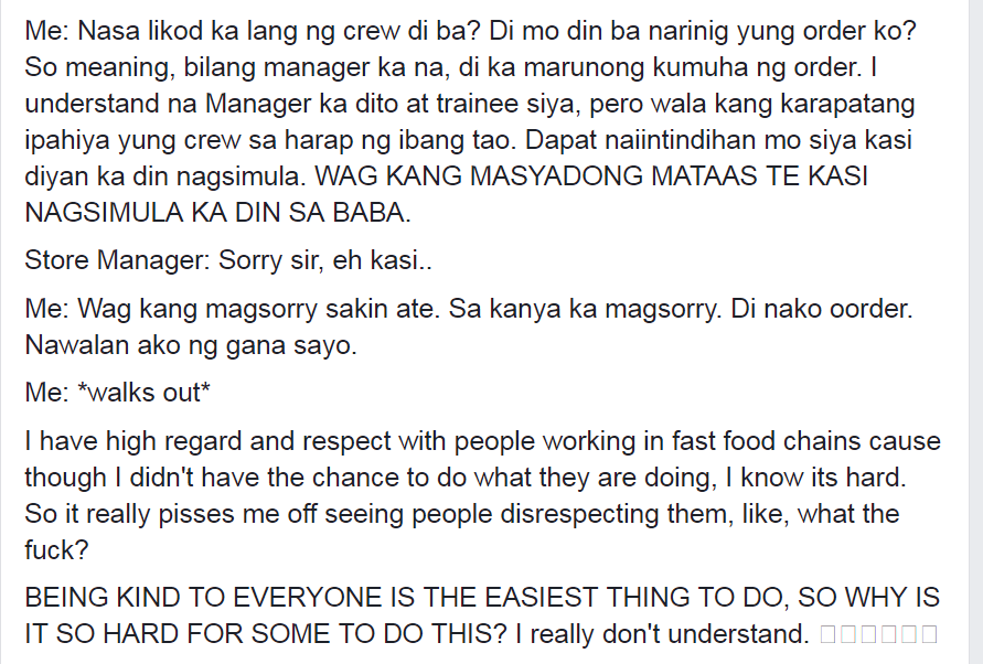 Young Man Defends Jollibee Crew Humiliated by Manager