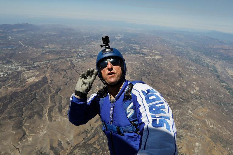 Luke Aikins during a test dive Photo credit: Jae C. Hong/Associated Press