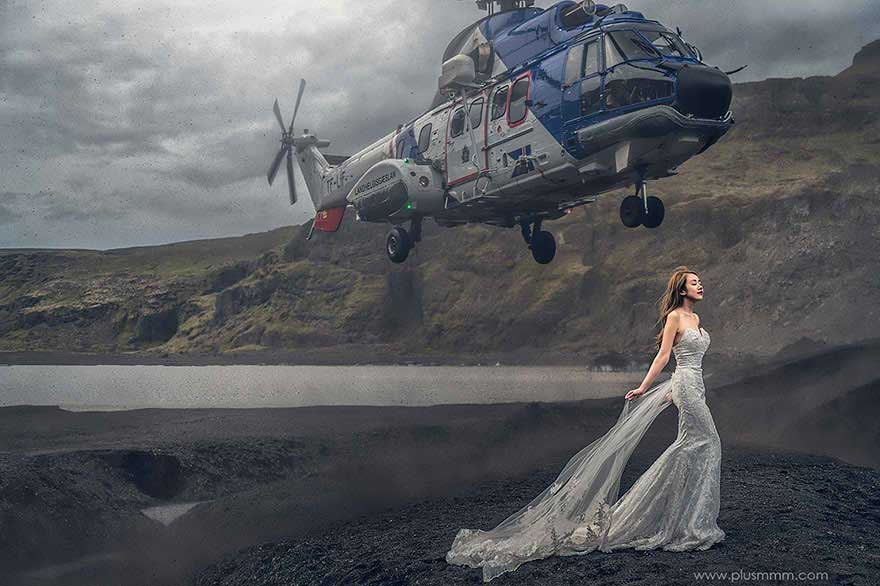 cm leung wedding photography bride helicopter 1