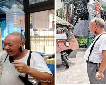 Old Man Wears Bottle 'Accessory' to Care for Disabled Wife Even If He's Also Sick