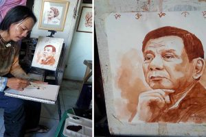 "Artist Draws Pres. Duterte Portrait Using Coconut Wine ""Tuba"""