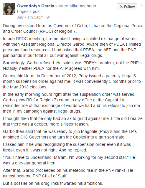 Screenshot from the Facebook post of former Gov. Gwendolyn Garcia
