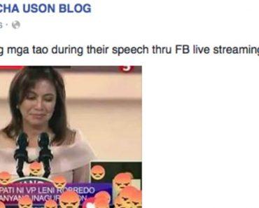 Mocha Uson's Facebook Post about Robredo's Speech Earns Negative Reactions