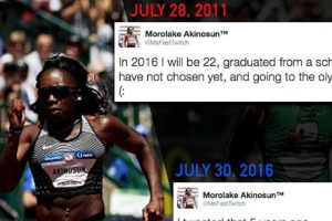 """Olympic Runner Fulfills """"2016 Goals"""" She Posted 5 Years Ago"""