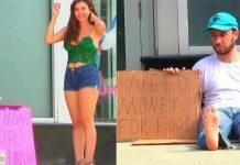 hot girl vs homeless man social experiment
