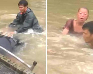 Video Shows Rescuers Saving Trapped Woman And Dog In A Flooded Car