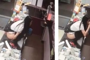 Bizzare CCTV Footage Shows Woman Urinating In Paper Cup Then Drinks It