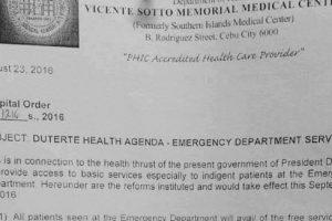 "Through the ""Duterte Health Agenda"", Cebu Hospital No Longer Requires Down Payment"
