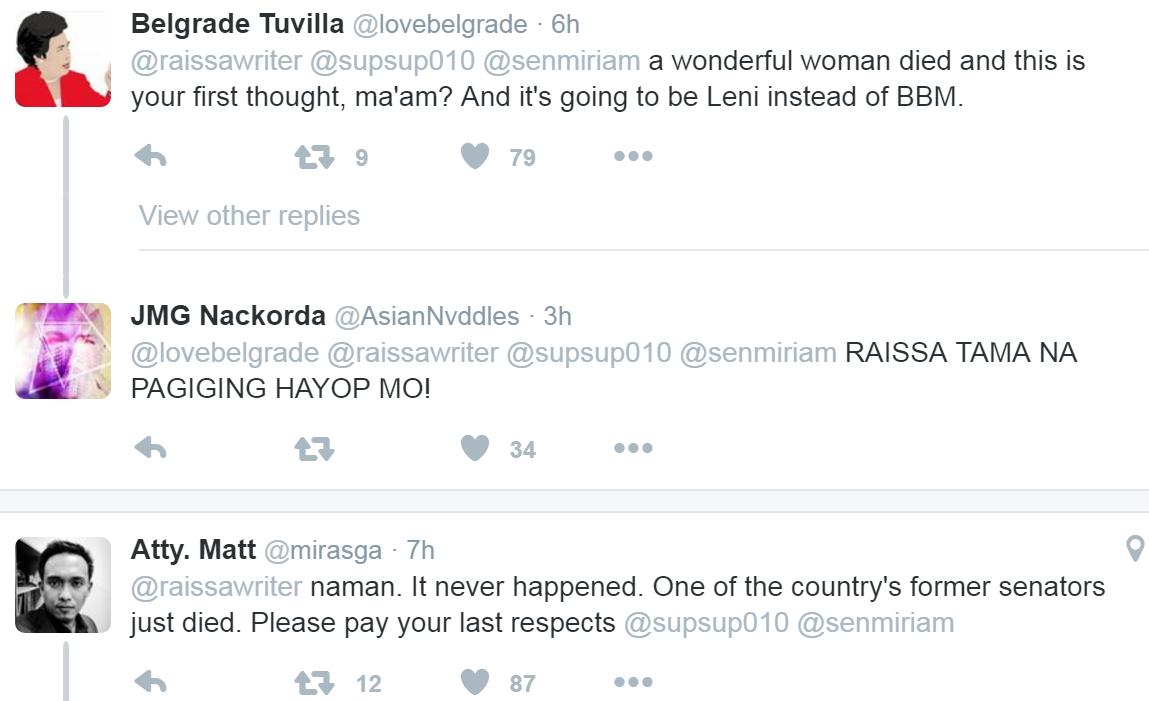 Replies to tweet of Raissa Robles