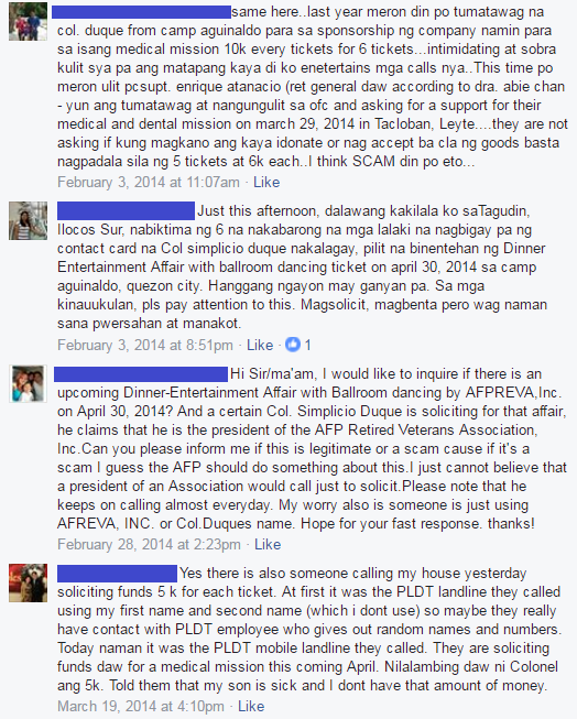 Screenshot of some comments on the post by Armed Forces of the Philippines / Facebook