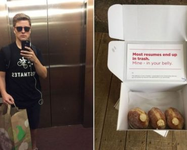 Epic Guy Disguises As Delivery Boy And Brings His CV With A Box of Doughnuts