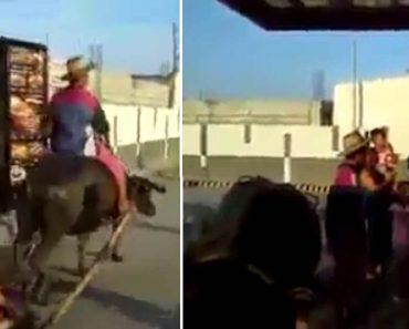 VIRAL: Man Riding Carabao to Jollibee Drive Thru with a Bunch of Kids