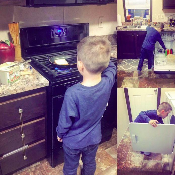 boy doing chores