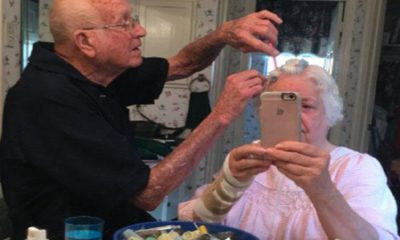 Adorable Photo of Old Man Doing His Wife's Hair