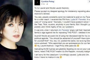Cynthia Patag Apologizes for Making Public 'Wrong Sent' PM from Lydia Paredes
