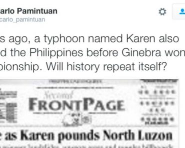 "Typhoon ""Karen"" Also Struck the PH in 2008, before Ginebra Won PBA Championship"