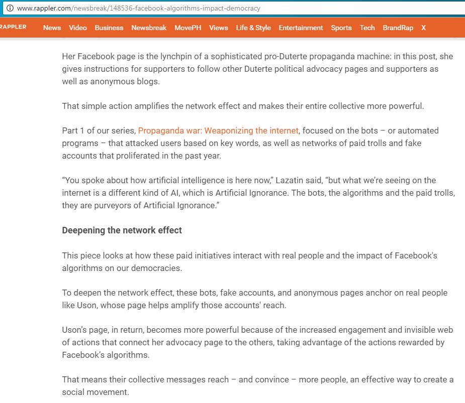 Screenshot from Rappler article