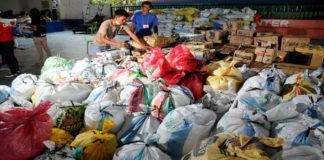 sacks of relief goods
