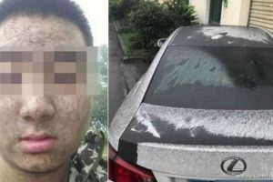 """Shocking Images Show """"Black Rain"""" Pouring Down in a Neighborhood in China"""