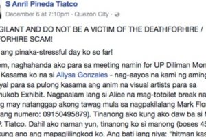 """UP Professor Warns Against """"Gun for Hire"""" Scam"""