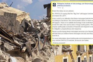 """Phivolcs Warns Netizens against Spreading Fake Dates of """"Big One"""" Earthquake"""