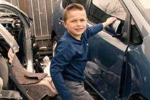 Boy Thanks 'Angels' for Helping Him Save Dad Being Crushed by Car