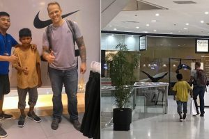 Foreigner Buys New Shoes for Kid Selling Sampaguita