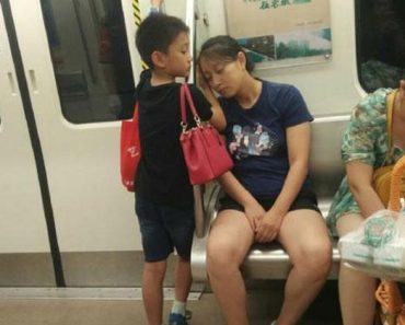 Boy Uses Hand as Pillow for Mom, Right after Giving Up Seat for Lady with Baby