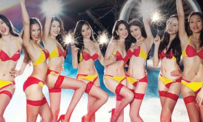 bikini clad flight attendants