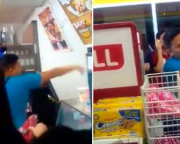 Violent Customer Gets Instant Karma after Service Crew Hits Him with Milk Shake