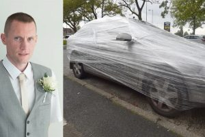 Angry Homeowner Puts Clingwrap Around Car Parked Outside His House
