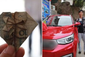 Man Buys New Car for Wife with Heart-shaped Banknotes He Folded for 6 Years