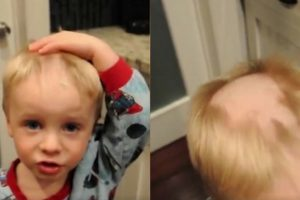 """Adorable Kid Accidentally Shaves His Hair To Be """"Just Like Daddy"""""""