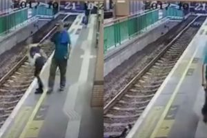 Heartless Man Calmly Pushes A Woman Off The Train Track, Leaving Her Injured