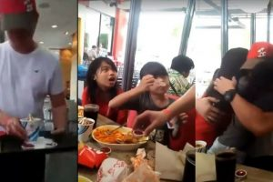 A Heartwarming Video Of An OFW Dad Who Disguised As A Jollibee Crew To Surprise His Daughters Goes Viral