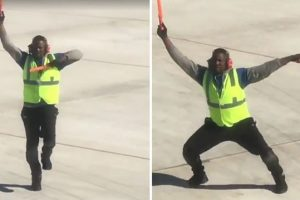 Aircraft Marshaller Makes Waves on Social Media after Terry McBride Catches Him Dancing