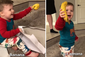 Little Boy Goes Viral for Being Very Happy with His Banana Gift