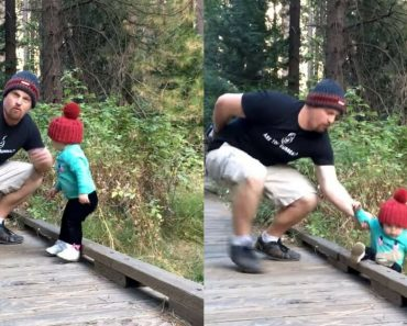 Tough Dad Instinctively Saves His Daughter From Falling While Posing For A Photo