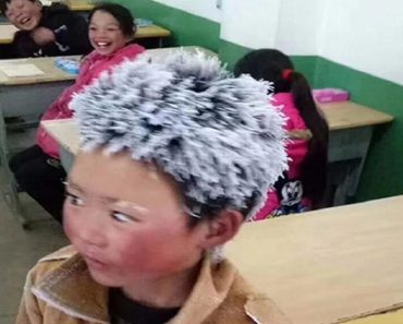 Boy Goes to School with Frozen Hair after Walking 3 Miles in the Snow