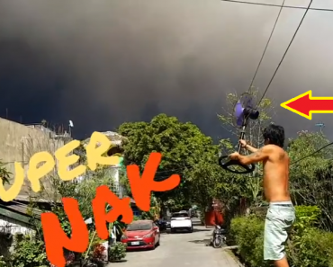 Pinoy 'Superhero' Tries to Blow Away the Ashes from the Erupting Mt. Mayon to 'Protect' His People