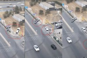 Real Or Fake? 2 Cars Levitate High In The Middle Of A Small Town In China