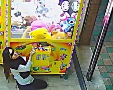 Thief Tries to Squeeze Herself into a Claw Machine to Steal the Stuffed Toys Inside