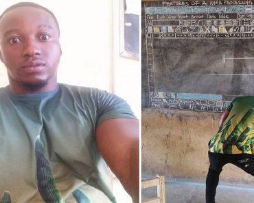 Teacher in Ghana Draws MS Word on Blackboard, Because School has No Computers