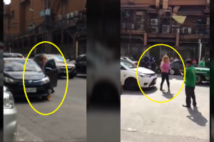 Woman Tries to Fight with Village Watchmen Who Clamped Her Illegally Parked Car