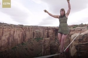 Legendary Slackliner and Daredevil Faith Dickey Crosses a Canyon Wearing Three-Inch Heels