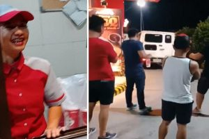 Friends 'Ride' Invisible Car to Order Food at Jollibee Drive Thru