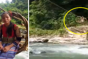 Kids Going to School Use Rattan Cable to Cross Raging River, Find Help after Video Goes Viral