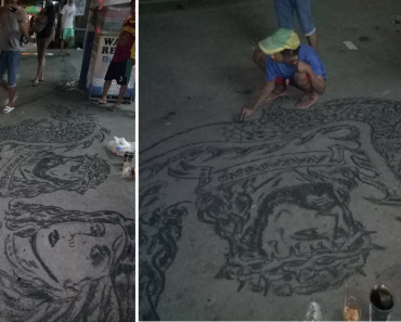 LOOK: Beggar's Impressive Charcoal Drawings on Pavement