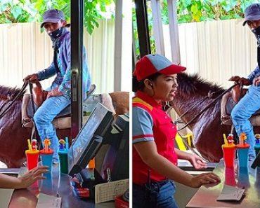 LOOK: Man on Horseback Orders Food at Jollibee Drive Thru