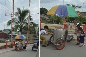 Grade School Kids Go Viral for Helping Old Man Push His Ice Cream Cart Up the Bridge